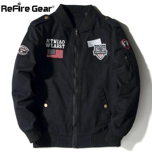 ReFire Gear Tactical Air Force Military Bomber Jacket Men Autumn Cotton Flight Pilot Army Jacket Motorcycle Cargo Coat Jackets 1