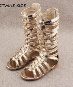 CCTWINS KIDS 2018 Summer Baby Girl Knee High Gladiator Sandal Kid Fashion Soft Flat Children Beach Gold Shoe Toddler BG063 1