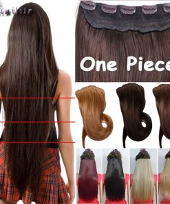 S-noilite 18-30 inches Clip in Hair Extensions 3/4 Full Head 5 Clips Hair Extention Synthetic Real Natural Hairpiece 1