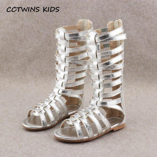 CCTWINS KIDS 2018 Summer Baby Girl Knee High Gladiator Sandal Kid Fashion Soft Flat Children Beach Gold Shoe Toddler BG063 2