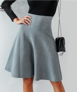 Bella Philosophy Elegant A-line knitted women skirt 2018 Autumn winter mid skirt vintage High waist casual umbrella skirt female