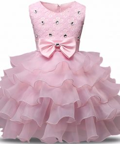 Kids Dresses For Girls Summer Ball Gown Party Evening Children Costume Bow Princess Birthday Communion Dresse 2-6 Years Vestidos 1