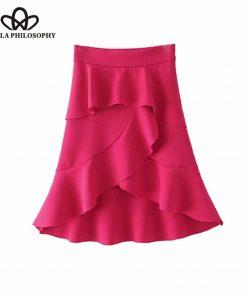 Bella Philosophy 2018 Asymmetrical Ruffle Skirt women summer high low skirt rose red irregular casual layered