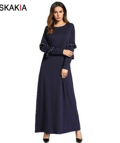 Siskakia Casual home dresses for women Autumn 2018 maxi long sleeve dress solid ruffles beading T shirt dress Navy Blue Muslim
