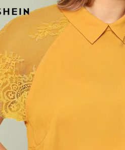 SHEIN Ginger Plus Size Keyhole Back Raglan Lace Short Sleeve Blouse Women Round Neck Top Summer Plain Office Lady Top Blouses 1