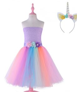 Ankle-length Flower Girls Pony Unicorn Tutu Dress with Headband Children Kids Birthday Party Dresses Costume Summer Girl Dresses