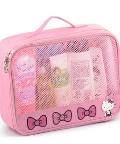 Girl Travel Portable Cosmetic Bag Women Cartoon Hello Kitty Zipper Makeup Bag Organizer Make Up Case Storage Pouch Toiletry Bag