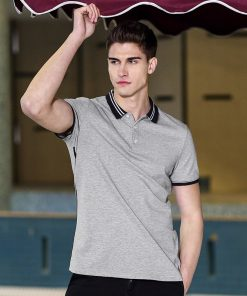 Pioneer Camp new short polo shirt men brand clothing simple casual patchwork polos male top quality 100% cotton grey ACP703084 1