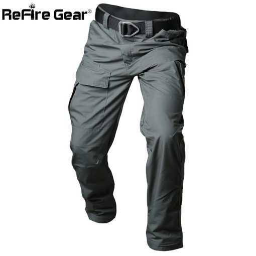 ReFire Gear Rip-Stop Cotton Waterproof Tactical Pants Men Camouflage Military Cargo Pants Man Multi Pockets Army Combat Trousers 1