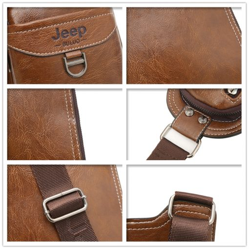 JEEP BULUO Men Messenger Bags New Hot Crossbody Shoulder Bag Famous Brand Man's Leather Sling Chest Bag Fashion Casual 6196 4