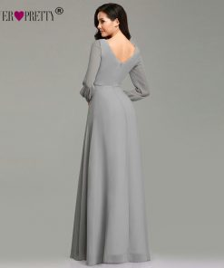Mother Of The Bride Dresses Ever Pretty EZ07761 Elegant Long Sleeve Chiffon A-line Grey Mother Of The Bride Robe 2019 Party Gown 1