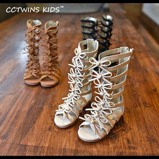 CCTWINS KIDS 2017 Summer Baby Girl Genuine Leather Knee High Gladiator Sandal Kid Fashion Children Beach Lace Up Black Shoe B414 4