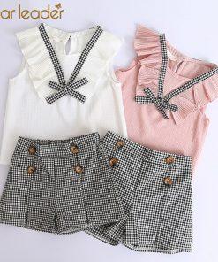 Bear Leader Girls Clothing Sets 2018 Brand Girls Clothes Kids Clothing Sets Sleeveless White T-Shirt + Plaid Short 2Pcs Suits