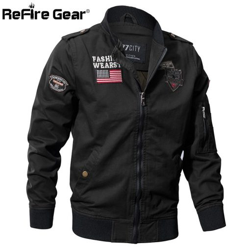 ReFire Gear Military Style Airborne Pilot Jacket Men Tactical Flight Army Jacket Autumn US Flag Air Force Motorcycle Cotton Coat 2