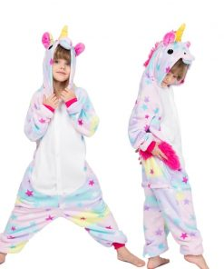 28 New Kids Animal Pajamas Set Winter Warm Boys Girls Starry Pegasus Unicorn Cosplay Children Sleepwear Onesie Flannel Pyjamas 1