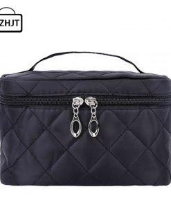 Women Travel Cosmetic Bags Diamond Lattice Zipper Men Makeup Bags Organizer Beauty Toiletry Bag Bath Wash Make Up Kits Case