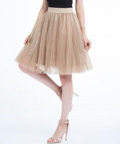 2018 Tulle Skirts Womens Black Gray White Adult Tulle Skirt Elastic High Waist Pleated Midi Skirt