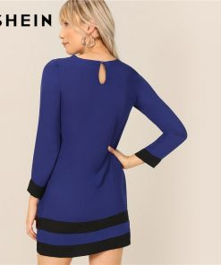 SHEIN Blue Two Tone Cut And Sew Tunic Keyhole Back Long Sleeve Dress Women Spring Colorblock Weekend Casual T-shirt Dress 1