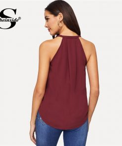 Sheinside Burgundy Asymmetrical Draped Wrap Cami Tops Women 2019 Summer Casual Solid Vest Streetwear Sexy Halter Cami Tee  1