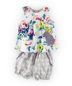 Baby Girls Sets Summer Children Clothing Brand Kids Tracksuit for Girls Clothes Animal Applique Tops Toddler Girls Short Sets 1