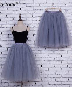 6Layers 65cm Fashion Tulle Skirt Pleated Tutu Skirts Womens Lolita Petticoat Bridesmaids Vintage Midi Skirt Jupe Saias faldas 1
