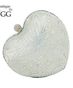 Boutique De FGG Silver Crystal Flower Women Heart Evening Clutch Bags Hardcase Metal Clutches Wedding Party Bridal Handbag Purse