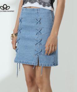 Bella Philosophy 2018 summer women denim lace-up sky navy blue skirt 1
