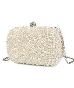 100% Hand made Luxury Pearl Clutch bags Women Purse Diamond Chain white Evening Bags for Party Wedding black Bolsa Feminina 1