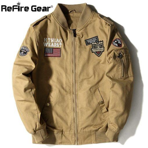 ReFire Gear Tactical Air Force Military Bomber Jacket Men Autumn Cotton Flight Pilot Army Jacket Motorcycle Cargo Coat Jackets