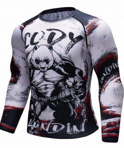 Panda 3D Long Sleeve Compression T-Shirt Men's Quick Dry T-Shirt Men's MMA T-Shirt Clothes Fitness Top Rashgard Rash Protection 1