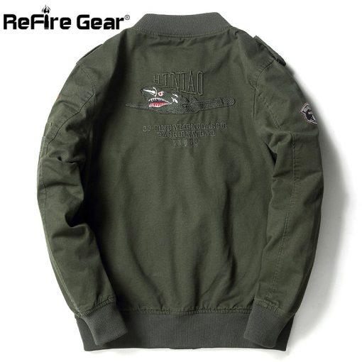 ReFire Gear Tactical Air Force Military Bomber Jacket Men Autumn Cotton Flight Pilot Army Jacket Motorcycle Cargo Coat Jackets 3