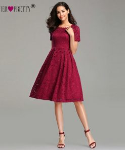 Burgundy Homecoming Dresses 2019 Ever Pretty EZ03061 Elegant A-line Short Sleeve Full Lace Appliques Sexy Short Party Gowns