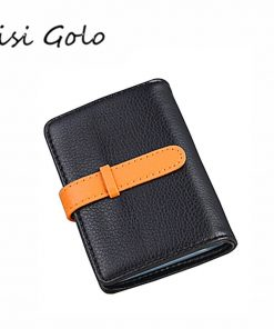 BISI GORO 2019 Business Name Card Holder Leather RFID Blocking Credit Card Case Buckle Men Women Sim Plastic Card Holders