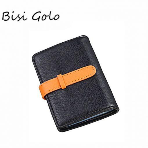 BISI GORO 2019 Business Name Card Holder Leather RFID Blocking Credit Card Case Buckle Men Women Sim Plastic Card Holders