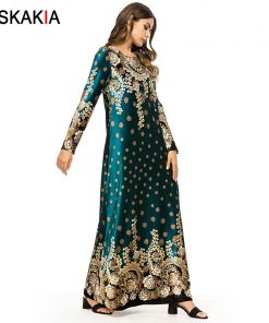 Siskakia Velvet Floral long Dress Autumn Fall 2018 Vintage Print Maxi Dresses Urban Casual Muslim Eid Adha Ramadan Clothing UAE  1