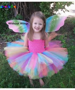 Candy Rainbow Fairy Girl Tulle Tutu Dress Shoulderless Girls Summer Dress Princess Evening Ball Gown Kids Party Dresses for Girl