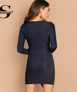 Sheinside Navy V Neck Ruffle Trim Ruched Wrap Glitter Dress Women Party Sexy Dresses Ladies Elegant Long Sleeve Bodycon Dress 1