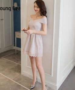 Young Gee 2019 Summer Women Party Dress Sexy Club Off Shoulder Sexy Deep V-neck Sukol Lace Stretch Bandage Mini Dresses vestido