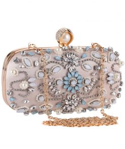 Luxy Moon Crystal Evening Bags Pearls Beaded Day Clutch rhinestone Purse Handbags Wallet Evening purse party Bag ZD848 1