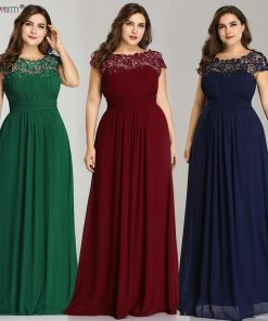 Long Prom Dresses Ever Pretty EP09993 2019 Dark Green Plus Size Lace Appliques O-Neck A-Line Navy Blue Ladies Formal Party Dress 1
