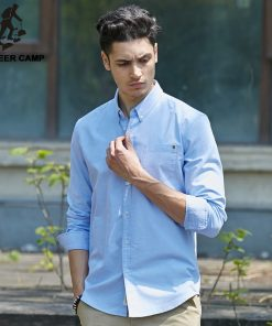 Pioneer Camp casual shirt men brand clothing 2018 new long sleeve slim fit solid male shirt quality 100% cotton white 666211 1