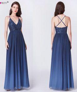Long Prom Dresses 2018 EP07455OD Elegant A Line V Neck Tulle Wedding Party Gowns With Sequin Vestidos De Fiesta Elegantes Largos 1