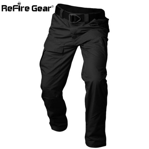 ReFire Gear Rip-Stop Cotton Waterproof Tactical Pants Men Camouflage Military Cargo Pants Man Multi Pockets Army Combat Trousers 2