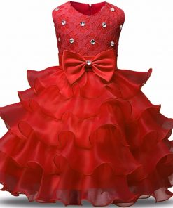 Kids Dresses For Girls Summer Ball Gown Party Evening Children Costume Bow Princess Birthday Communion Dresse 2-6 Years Vestidos