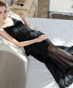 Elegant Black Babydoll Sleepwear Spaghetti Strap Backless Lace Ruffle Satin Sexy Night Dress Long Erotic Lingerie Nightgown T170 1