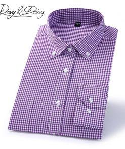DAVYDAISY High Quality 100% Cotton Men Shirt Long Sleeved Plaid Striped Casual Shirts Brand Clothing Man Business Shirt DS151