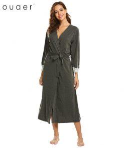 Ekouaer Women Kimono Robes Sexy Long Bathrobe Lace Trim Long Sleeve Sleepwear Robe Spa Bath Robes Female Lingerie Nightwear