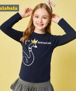 Balabala children brand girl tshirt clothes 2018 autumn new girls long sleeve vintage t shirt cotton soft for kids girls tops
