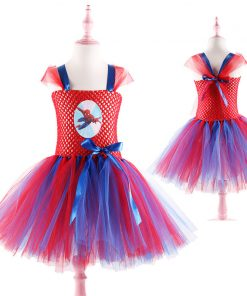 Superhero Spider-man Children Kids Party Dresses Girl Halloween Costume Tutu Dress with Mask Baby Girls Birthday Vestido Cosplay 1