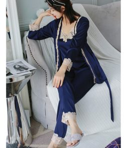 2019 Satin Three 3 Pieces Sleepwear Female Sexy Lace Silk Pajamas Set Hollow Out Coat Strap Vest Long Pants Robe Gown Sets T207